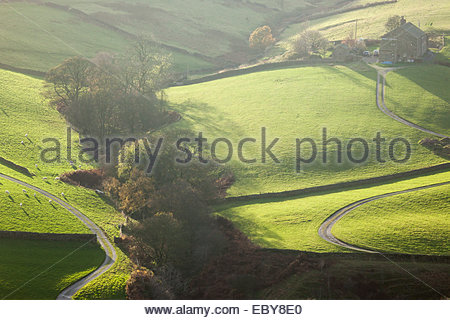 Remote farm . Worth Valley near Haworth West Yorkshire England UK - Stock Photo