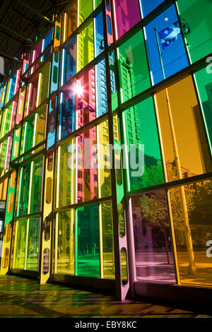 Colorful windows and reflections on floor, Palais des Congres, Montreal, Quebec, Canada - Stock Photo