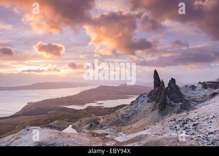 Winter sunrise above the Old Man of Storr on the Isle of Skye, Scotland. Winter (December) 2013. - Stock Photo