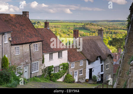 Picturesque Gold Hill in Shaftesbury, Dorset, England. Spring (May) 2014. - Stock Photo