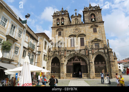 BRAGA, PORTUGAL - AUGUST 9, 2014: Cathedral in the center of Braga, Portugal, on of the most important monuments - Stock Photo