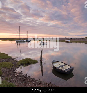 Boats in Porlock Weir at sunset, Exmoor, Somerset, England. Summer (July) 2014. - Stock Photo