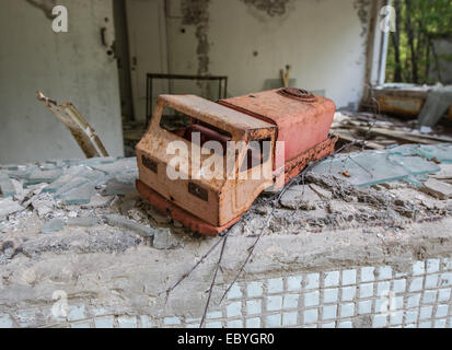 Preventive clinic 'Solnechny' (Sunny) in Pripyat abandoned city, Chernobyl Exclusion Zone, Ukraine - Stock Photo