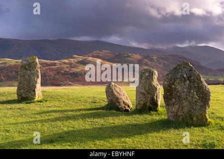 Megalithic standing stones forming part of Castlerigg Stone Circle, Lake District, Cumbria, England. Autumn (November) - Stock Photo