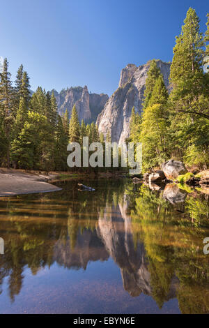 Cathedral Rocks reflected in the River Merced, Yosemite Valley, California, England. Autumn (October) 2014. - Stock Photo
