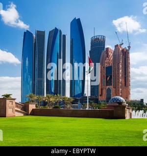 ABU DHABI, UAE - NOVEMBER 30: Etihad Towers on November 30, 2014 in Abu Dhabi. The Etihad Towers is the name of - Stock Photo