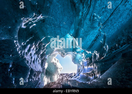 View from inside an ice cave below Vatnajoekull glacier, Iceland, Europe - Stock Photo