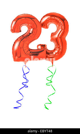 Red balloons with ribbon - Number 23 - Stock Photo