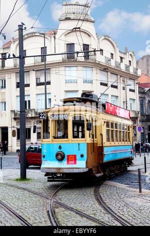 Old tram in Porto, Portugal. - Stock Photo