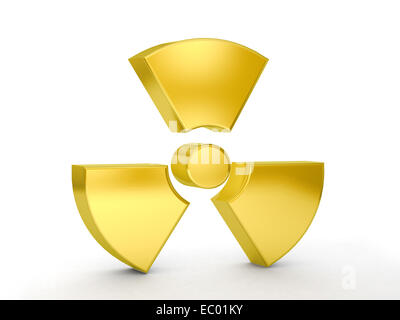 Gold radiation symbol on a white background. - Stock Photo