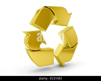 Gold recycle symbol on a white background. - Stock Photo