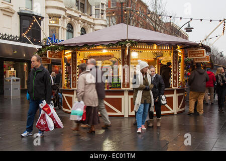 Southport, Merseyside, UK. 6th December, 2014. German sausage stall ready for business as Christmas Market Opens. - Stock Photo