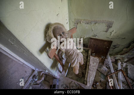 Middle School Number 3 in Pripyat abandoned city, Chernobyl Exclusion Zone, Ukraine - Stock Photo