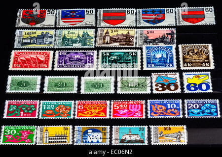 a nice view of Ceskoslovensko stamp, when Czech and Slovak Republic was together. - Stock Photo