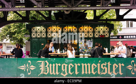 Burgermeister, a specialist burger eatery situated in a former public toilet. - Stock Photo