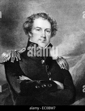 Alexander Macomb (1782-1841) on engraving from 1834. Commanding General of the United States Army during 1828-1841. - Stock Photo