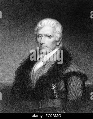 Daniel Boone (1734-1820) on engraving from 1835. American pioneer, explorer, and frontiersman. - Stock Photo