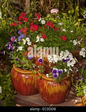 Colourful display of flowering annuals, purple, red & white pansies & nemesias spilling from decorative tiered strawberry - Stock Photo