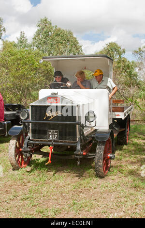 Meticulously restored vintage Napier truck with 3 people in open cab - Stock Photo