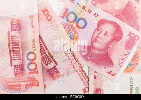 Chinese yuan renminbi banknotes, close up photo background - Stock Photo