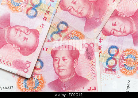Modern Chinese yuan renminbi banknotes, close up photo background - Stock Photo