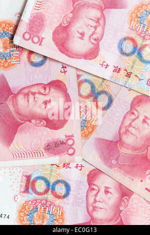 Modern Chinese yuan renminbi banknotes, vertical photo background - Stock Photo