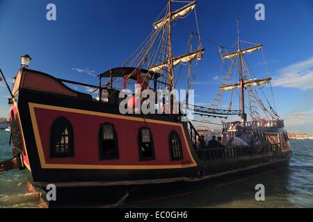 The pirate ship Jolly Roger - Il Galeone Veneziano / Venetian Galleon, Venice - Stock Photo