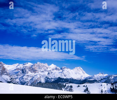 Massive limestone cliffs Alpe di Fanes from Corvara, Dolomites, Alta Badia Alto Adige,  Trentino,Italy - Stock Photo
