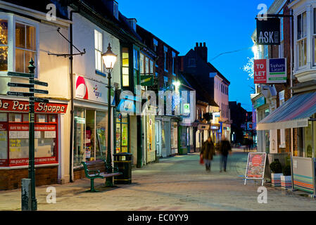 Beverley town centre at dusk, Humberside, East Yorkshire, England UK - Stock Photo