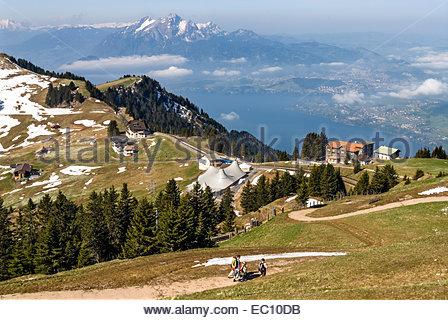 View from Mt.Rigi towards Lucerne, Vitznau, Switzerland | Aussicht vom Rigi in Rictung Luzern, Vitznau, Schweiz - Stock Photo