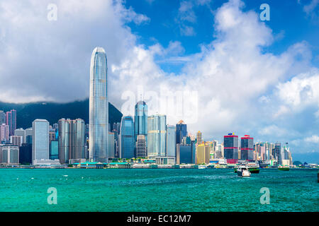 Hong Kong, China city skyline at Victoria Harbor. - Stock Photo