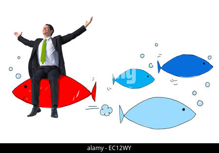 Happy Businessman and Individuality Concept - Stock Photo