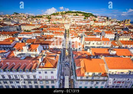 Lisbon, Portugal city skyline over Santa Justa Rua. - Stock Photo