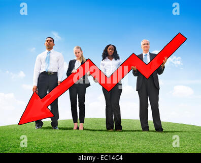 Angry Business People Holding Arrow Sign Downsizing - Stock Photo