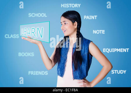 1 indian School Student ScienceTechnology - Stock Photo