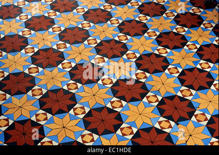 Dickens - Gad's Hill Place (Gadshill) conservatory tiled floor. English novelist Charles Dickens lived here at Higham - Stock Photo