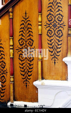 Dickens - Gad's Hill Place, wooden banister panels. English novelist Charles Dickens lived here at Higham above - Stock Photo