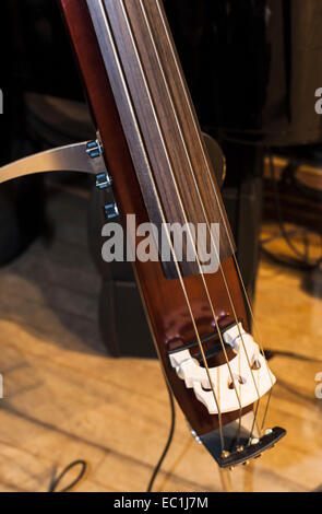 Silent electric upright bass,  double bass, 4-string; close-up of strings, bridge, electric pick-up, volume control - Stock Photo