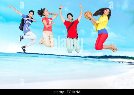 indian College Friends Students  beach fun - Stock Photo
