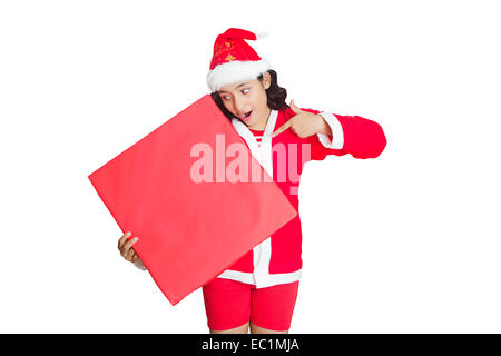 one indian girl Christmas Festival  Message Board - Stock Photo