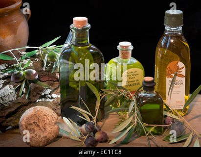 Still life of olive oil, Canena, Jaen province, Region of Andalusia, Spain, Europe - Stock Photo