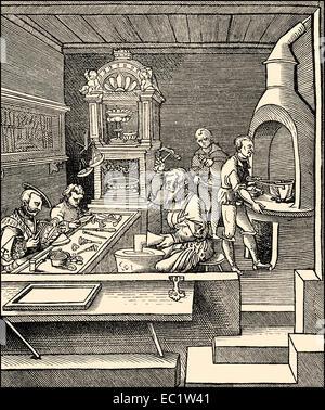 goldsmith, 16th century, Germany - Stock Photo