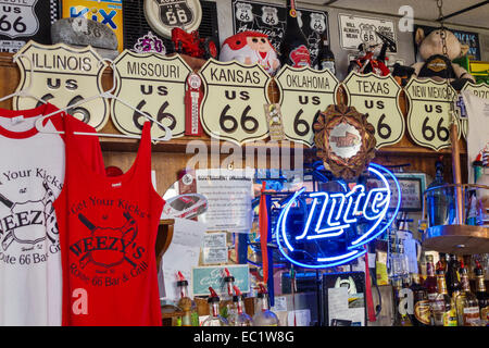Illinois Hamel Historic Route 66 Weezy's restaurant inside interior souvenir tee shirts sale - Stock Photo