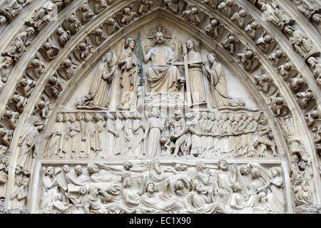 Last Judgement, detail of the Gothic main portal, Notre Dame de Paris, Paris, France Stock Photo