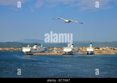 Ferries at the pier in Ferry, Olbia, Province of Olbia-Tempio, Sardinia, Italy - Stock Photo