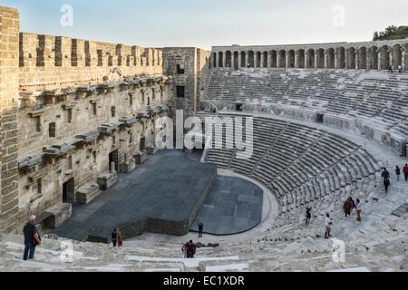 Roman amphitheater in Aspendos, 155 n. Chr., in Serik, Turkish Riviera, Antalya Province, Turkey - Stock Photo