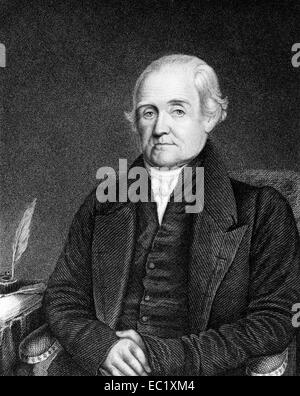 Noah Webster (1758-1843) on engraving from 1835. - Stock Photo