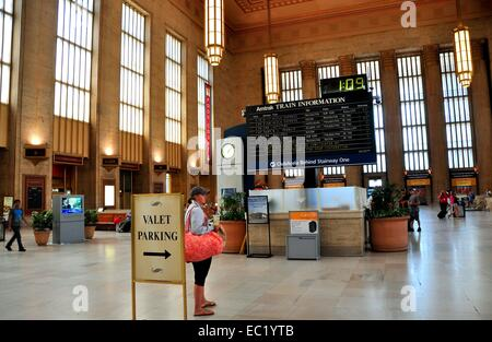 PHILADELPHIA, PA:  The grand hall with AMTRAK's train information electronic billboard at Philadelphia's 30th Street - Stock Photo