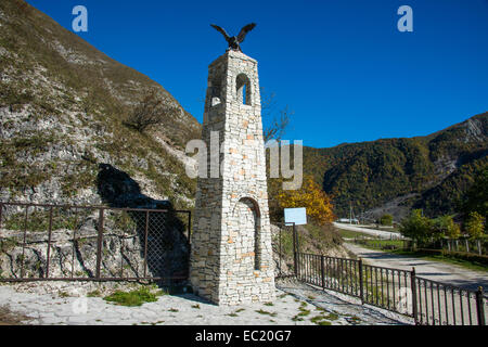Monument for the Chechen warrior Zelimxan in the Chechen mountains, Chechnya, Caucasus, Russia - Stock Photo