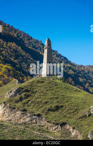 Watchtower in the Chechen mountains, Chechnya, Caucasus, Russia - Stock Photo